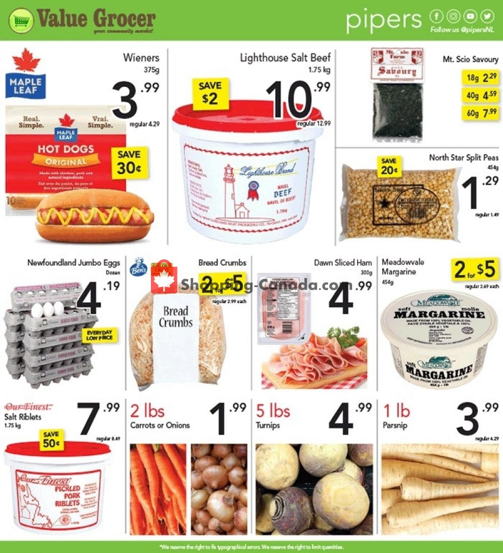 Flyer Pipers Superstore Canada - from Thursday November 7, 2019 to Wednesday November 13, 2019