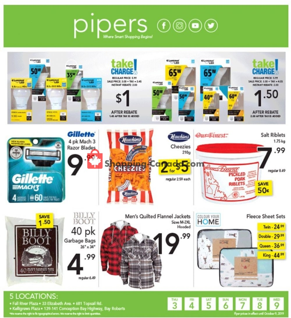 Flyer Pipers Superstore Canada - from Thursday October 3, 2019 to Wednesday October 9, 2019