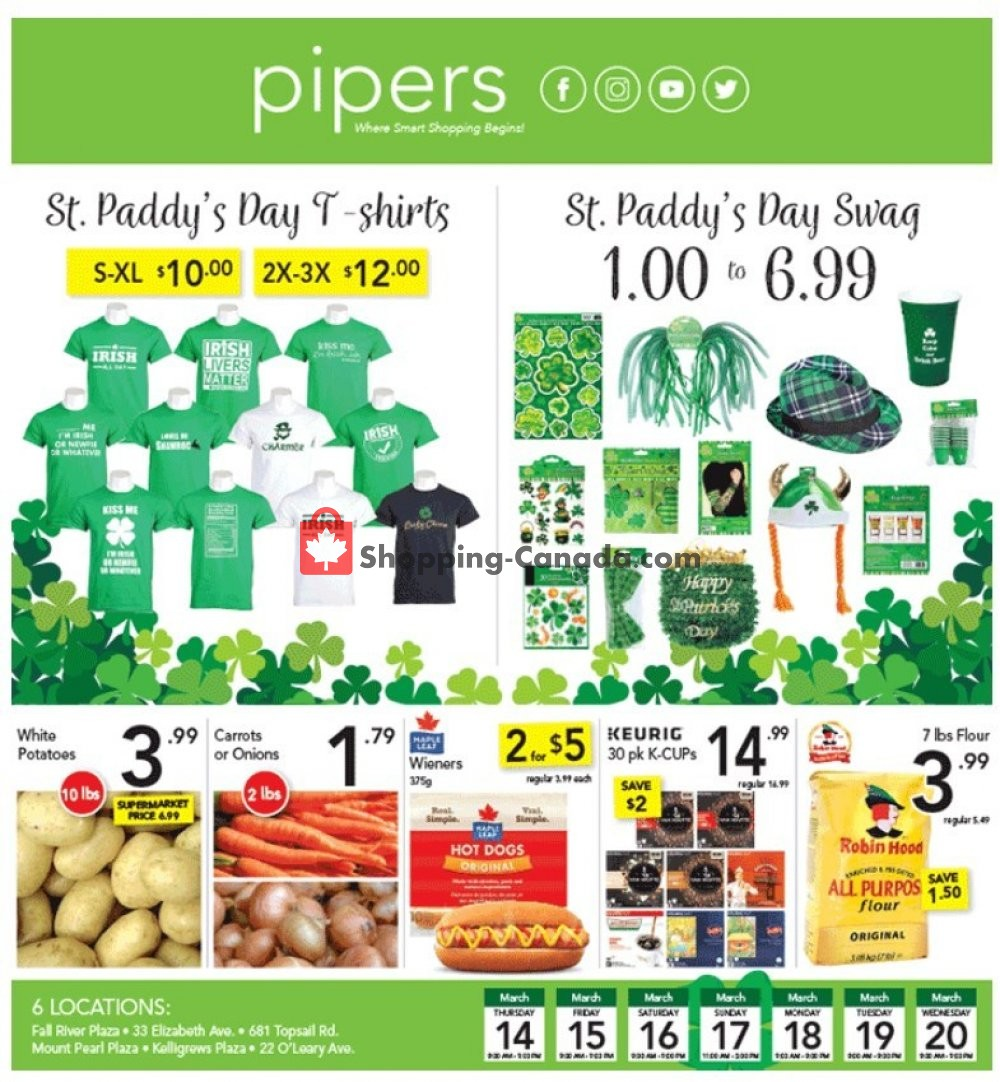 Flyer Pipers Superstore Canada - from Thursday March 14, 2019 to Wednesday March 20, 2019