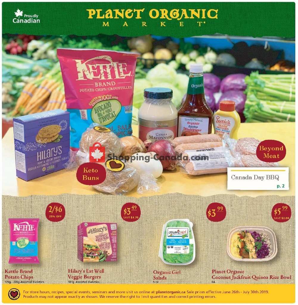 Flyer Planet Organic Market Canada - from Wednesday June 26, 2019 to Tuesday July 30, 2019