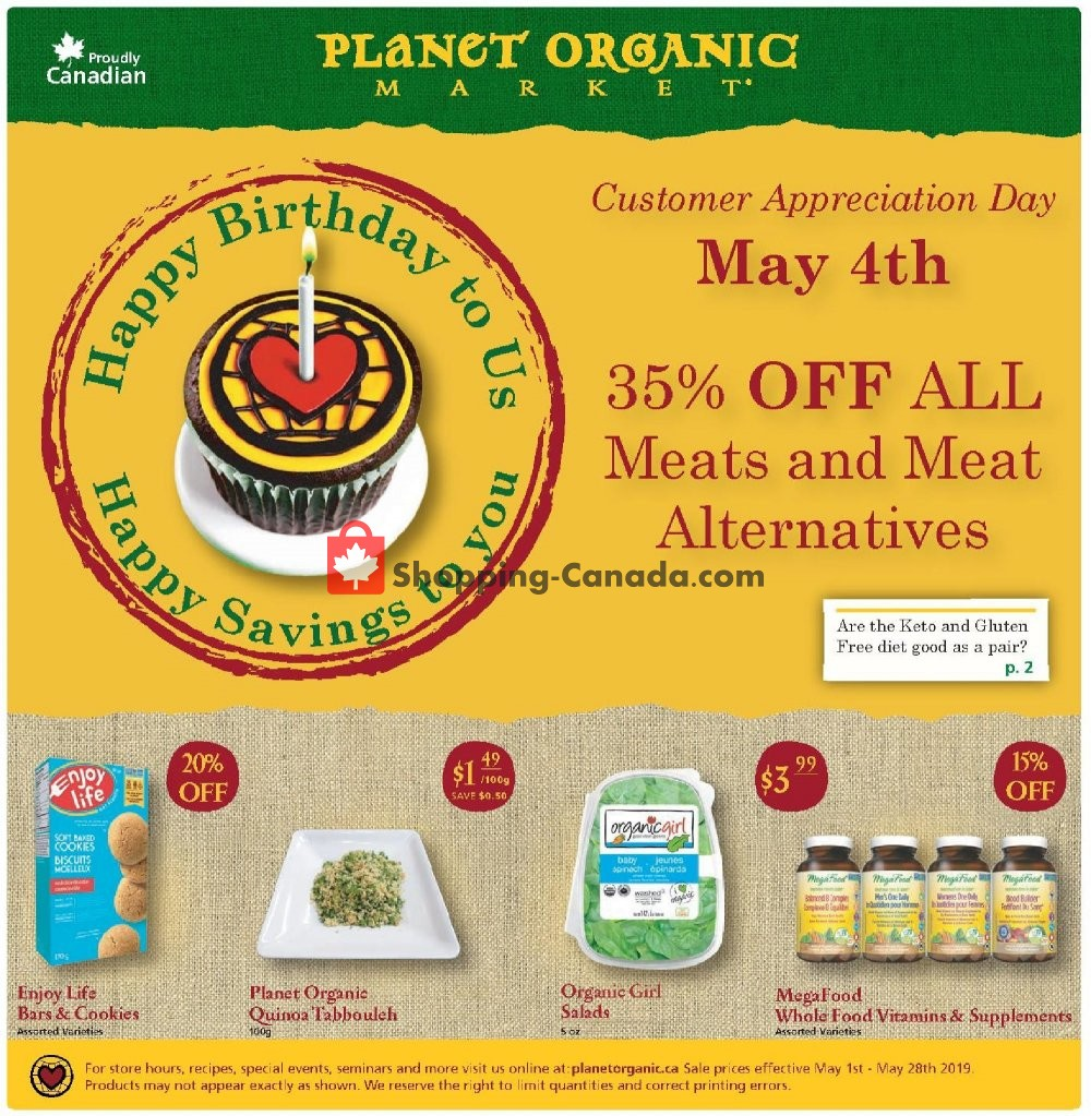 Flyer Planet Organic Market Canada - from Wednesday May 1, 2019 to Tuesday May 28, 2019
