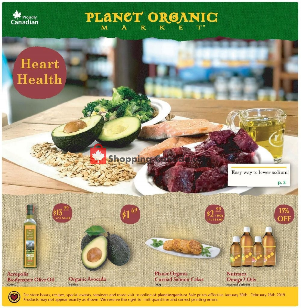 Flyer Planet Organic Market Canada - from Wednesday January 30, 2019 to Tuesday February 26, 2019