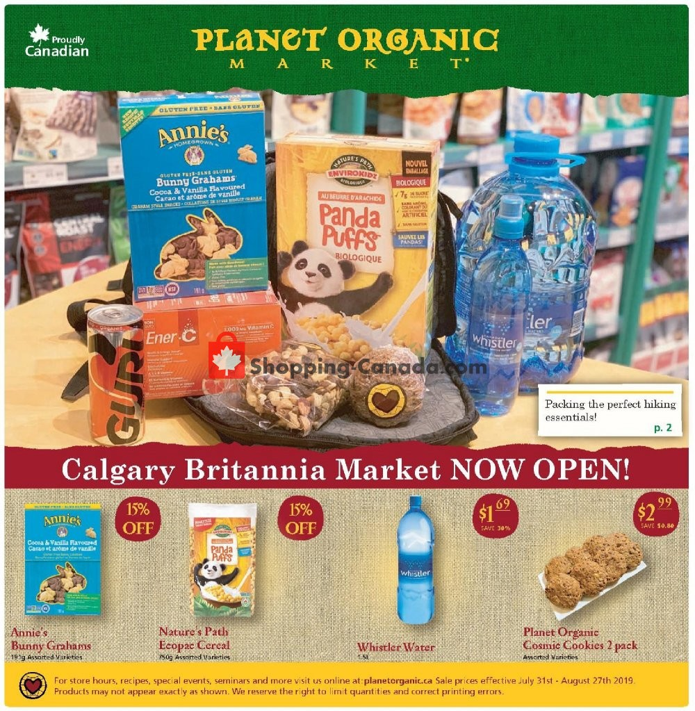 Flyer Planet Organic Market Canada - from Wednesday July 31, 2019 to Tuesday August 27, 2019