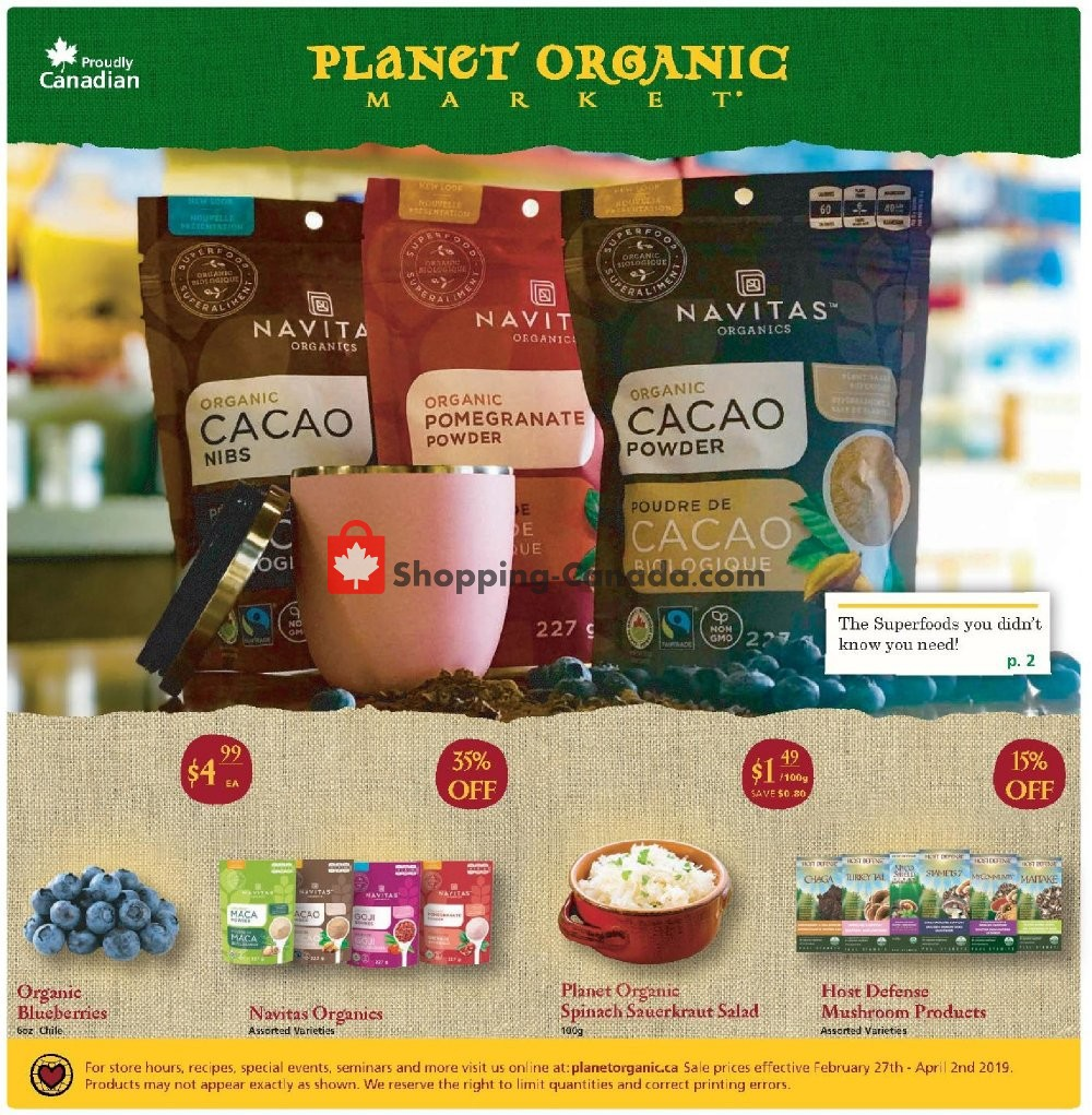 Flyer Planet Organic Market Canada - from Wednesday February 27, 2019 to Tuesday April 2, 2019