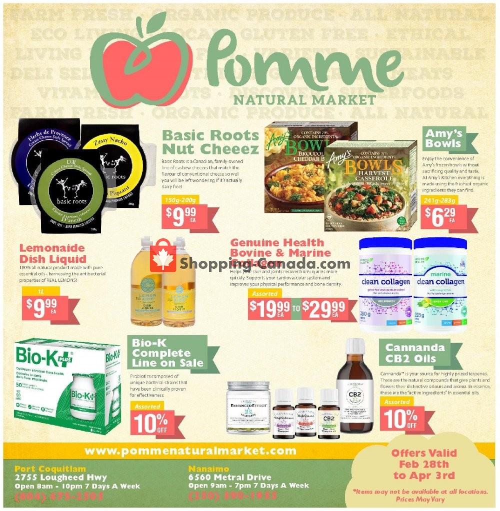 Flyer Pomme Natural Market Canada - from Thursday February 28, 2019 to Wednesday April 3, 2019