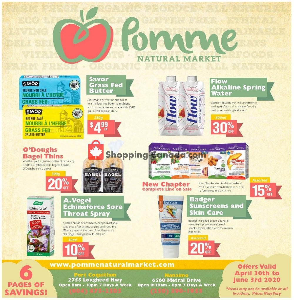 Flyer Pomme Natural Market Canada - from Thursday April 30, 2020 to Wednesday June 3, 2020