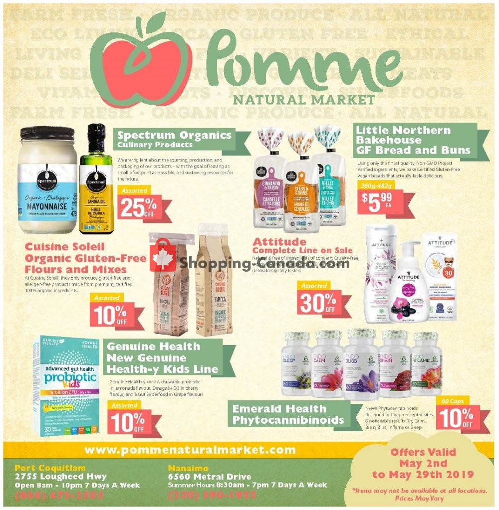 Flyer Pomme Natural Market Canada - from Thursday May 2, 2019 to Wednesday May 29, 2019