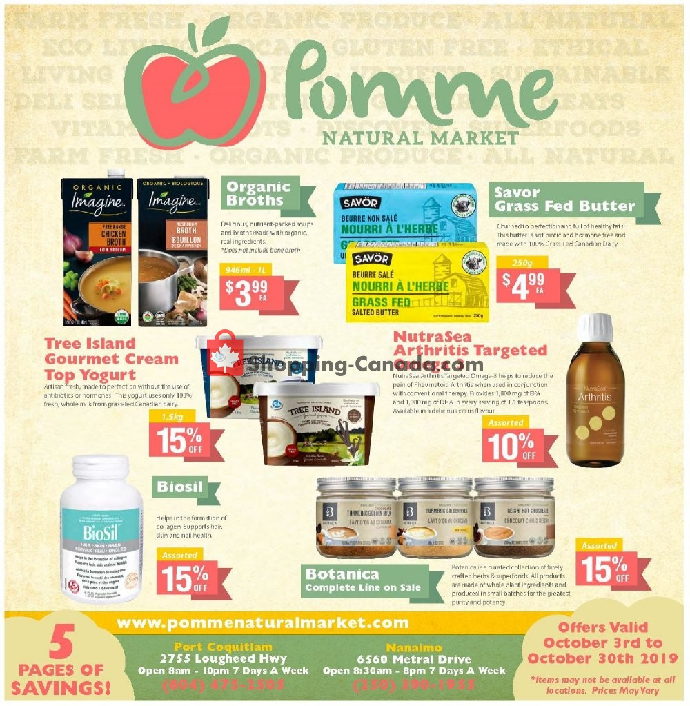 Flyer Pomme Natural Market Canada - from Thursday October 3, 2019 to Wednesday October 30, 2019