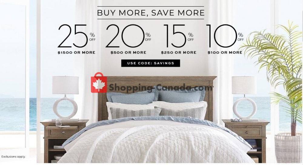 Flyer Pottery Barn Canada - from Wednesday July 1, 2020 to Friday July 31, 2020