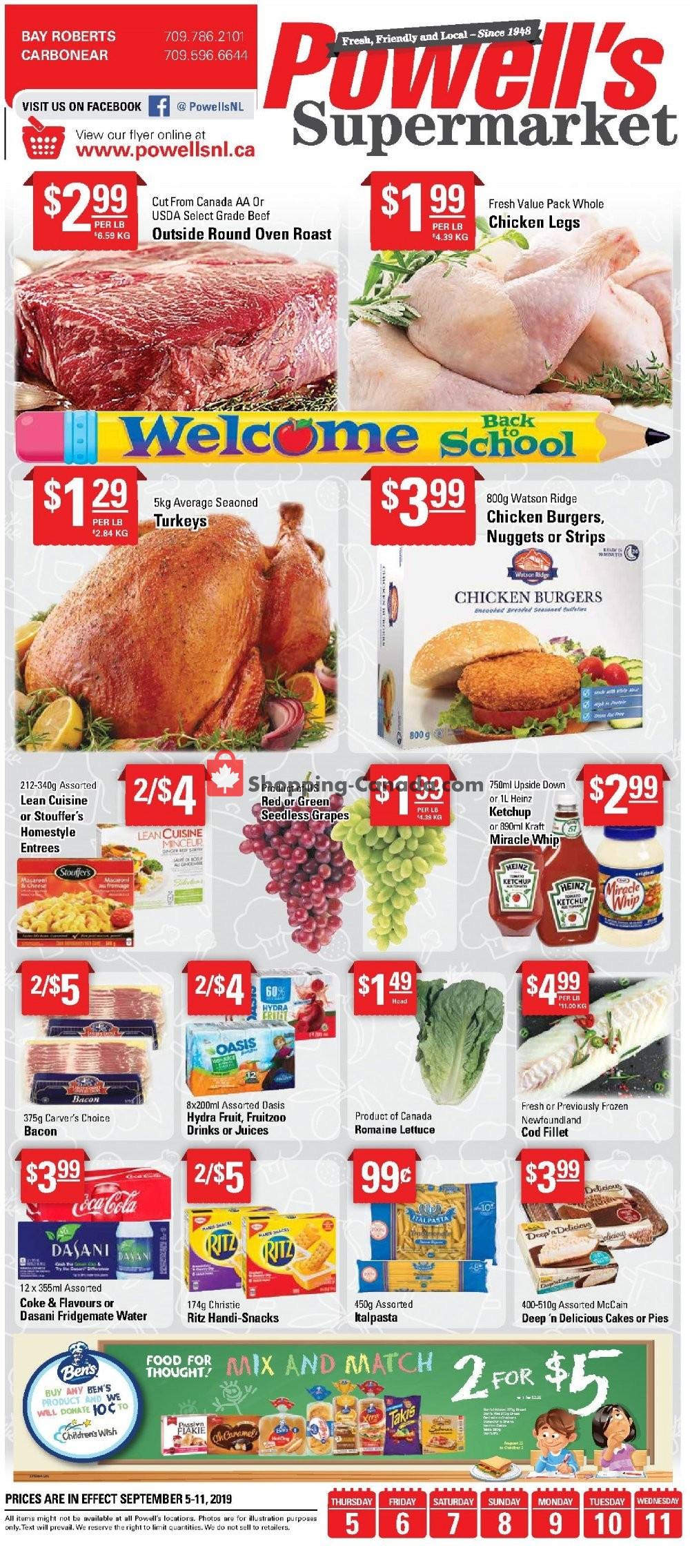 Flyer Powell's Supermarket Canada - from Thursday September 5, 2019 to Wednesday September 11, 2019