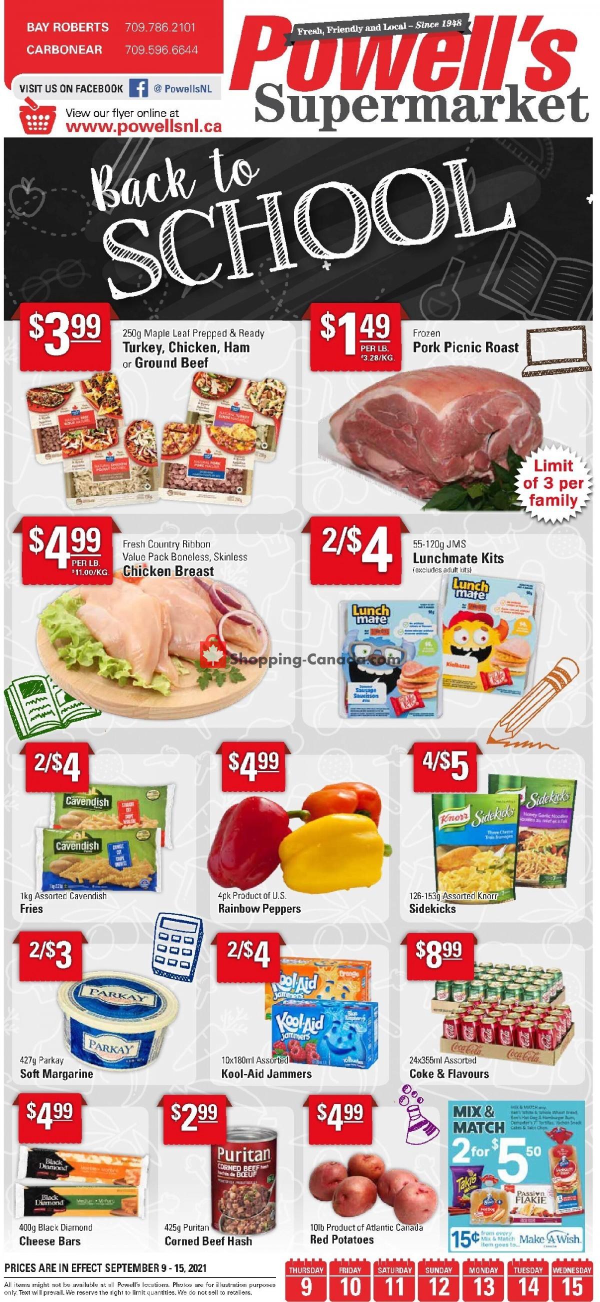 Flyer Powell's Supermarket Canada - from Thursday September 9, 2021 to Wednesday September 15, 2021