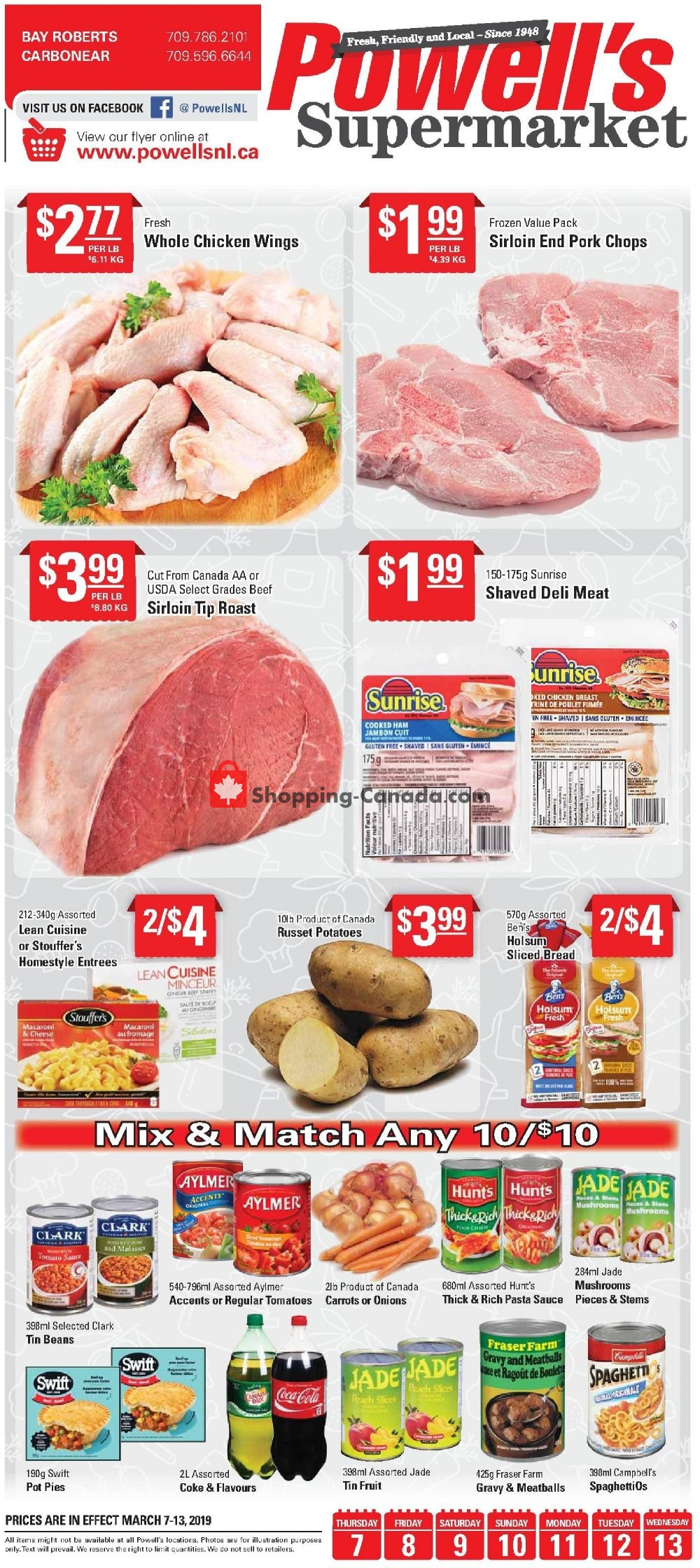 Flyer Powell's Supermarket Canada - from Thursday March 7, 2019 to Wednesday March 13, 2019