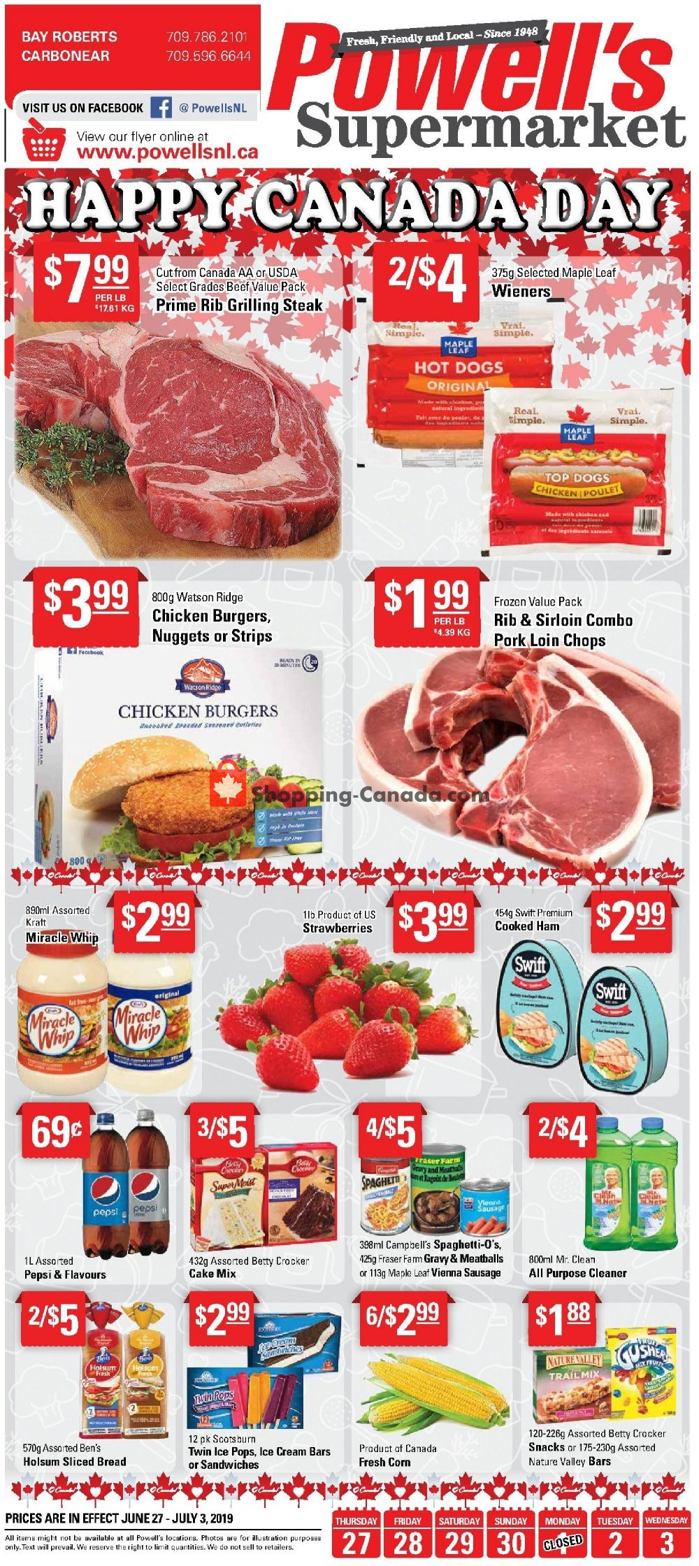 Flyer Powell's Supermarket Canada - from Thursday June 27, 2019 to Wednesday July 3, 2019