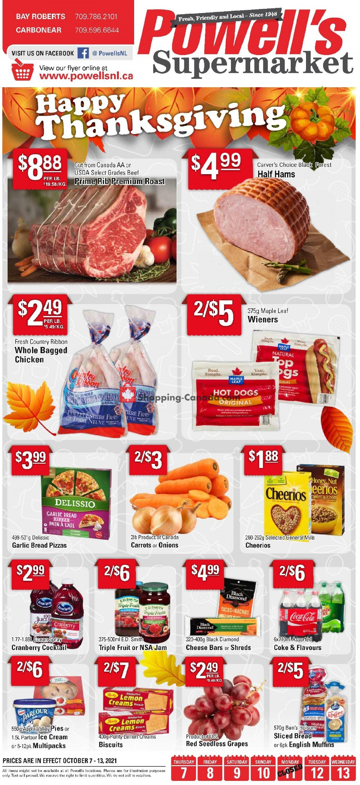 Flyer Powell's Supermarket Canada - from Thursday October 7, 2021 to Wednesday October 13, 2021