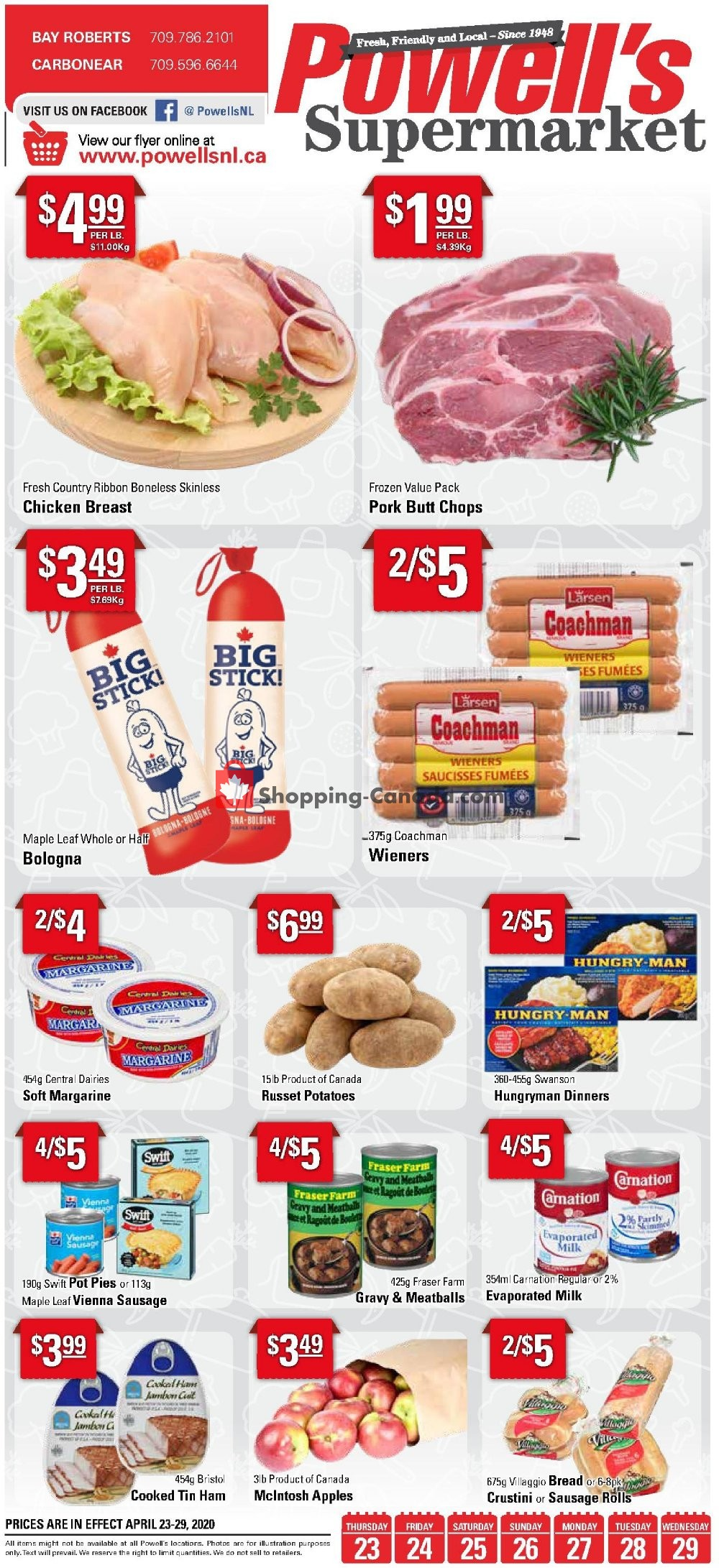 Flyer Powell's Supermarket Canada - from Thursday April 23, 2020 to Wednesday April 29, 2020