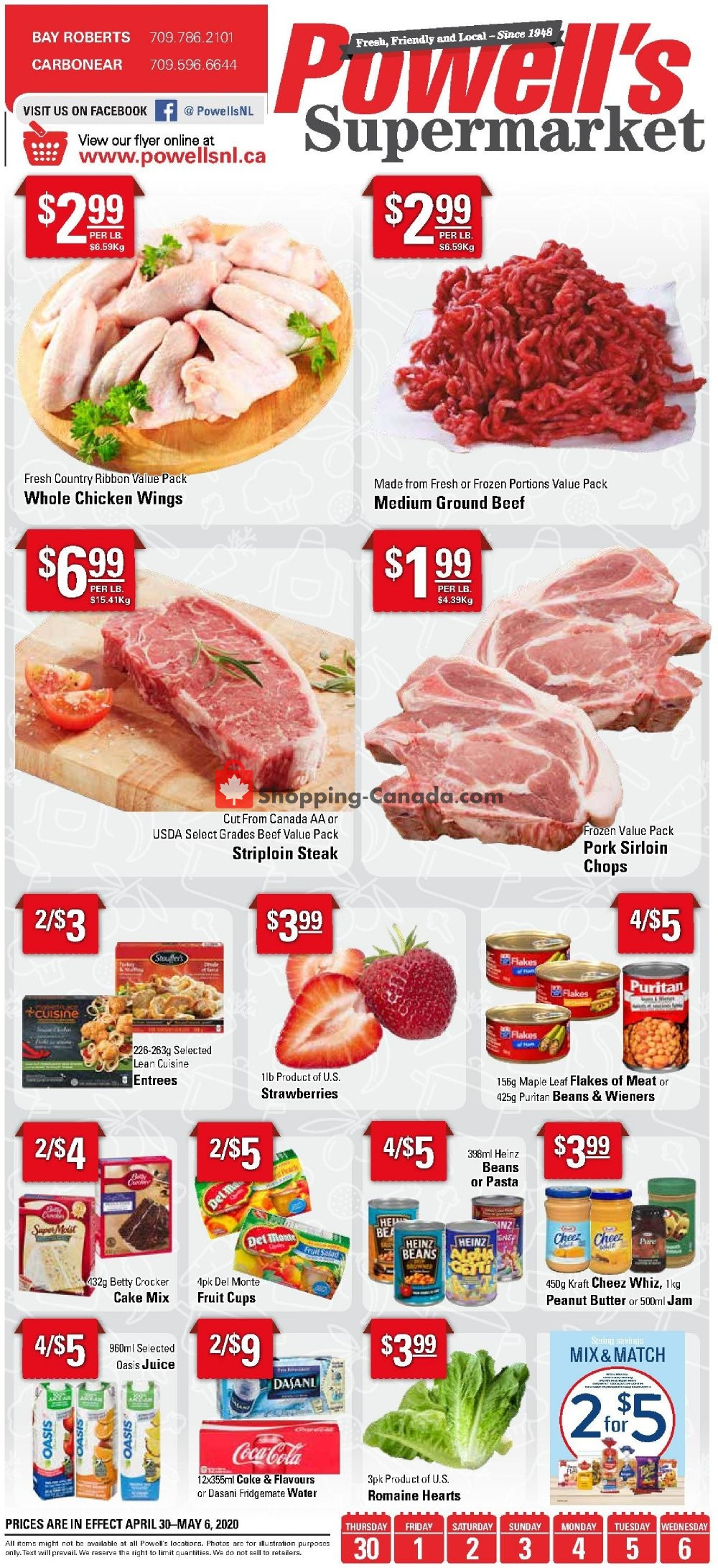 Flyer Powell's Supermarket Canada - from Thursday April 30, 2020 to Wednesday May 6, 2020