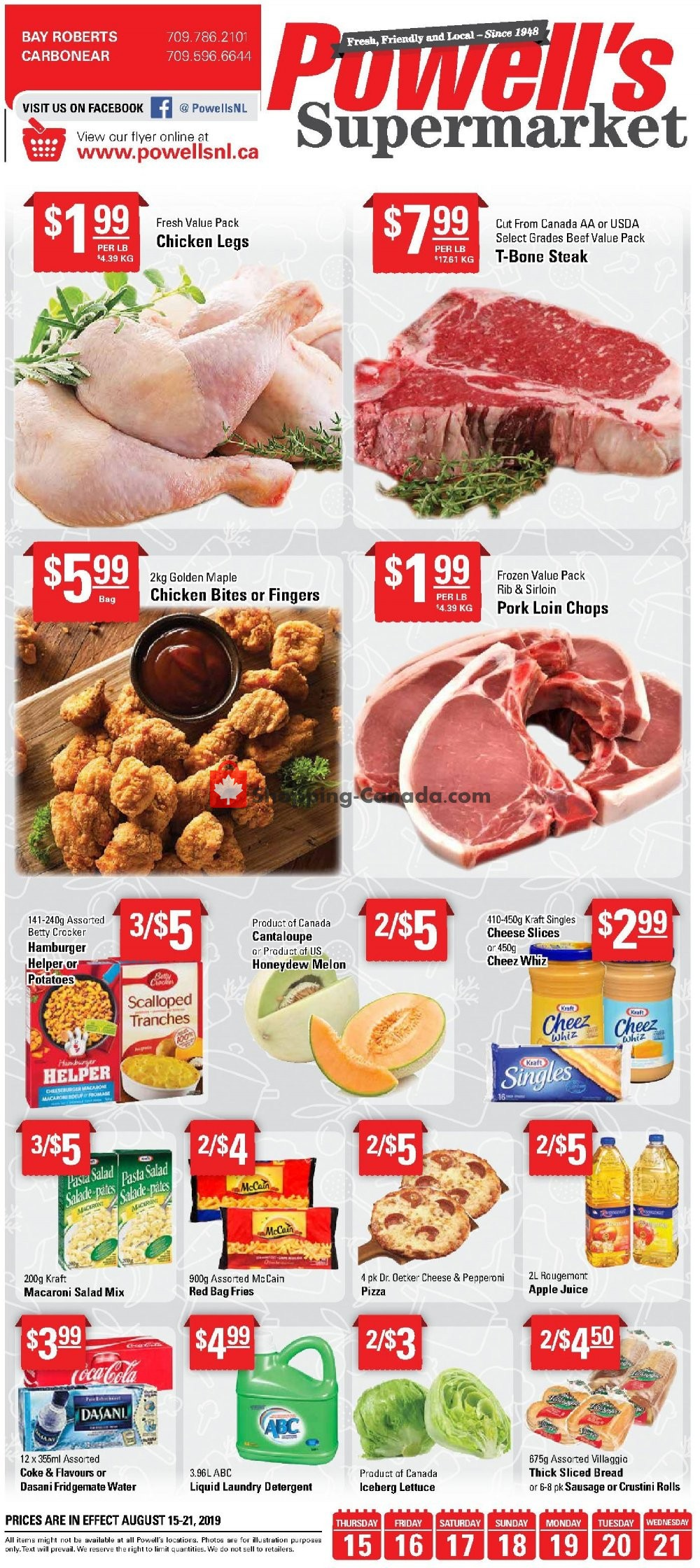 Flyer Powell's Supermarket Canada - from Thursday August 15, 2019 to Wednesday August 21, 2019