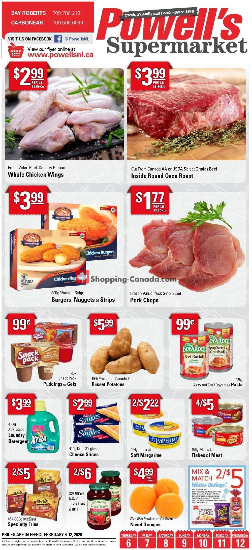Flyer Powell's Supermarket Canada - from Thursday February 6, 2020 to Wednesday February 12, 2020