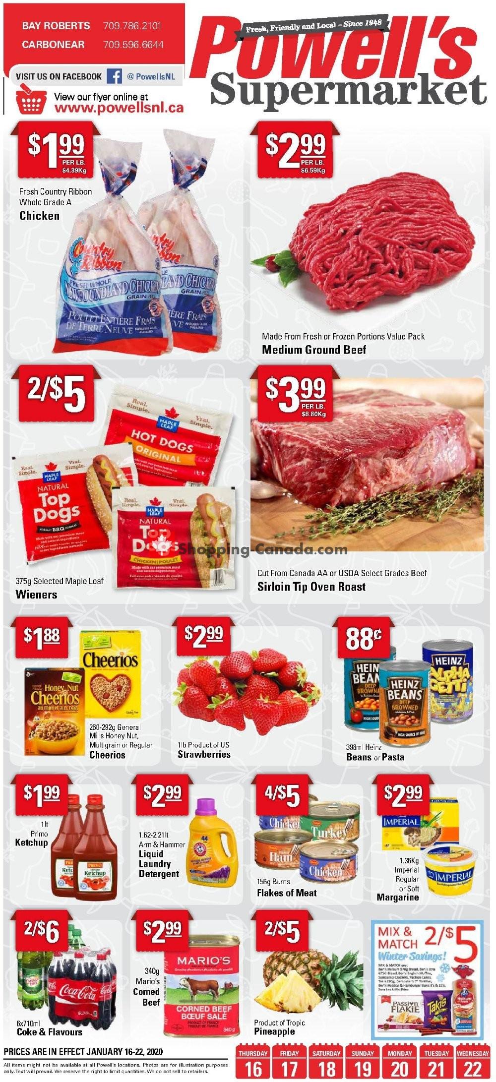 Flyer Powell's Supermarket Canada - from Thursday January 16, 2020 to Wednesday January 22, 2020