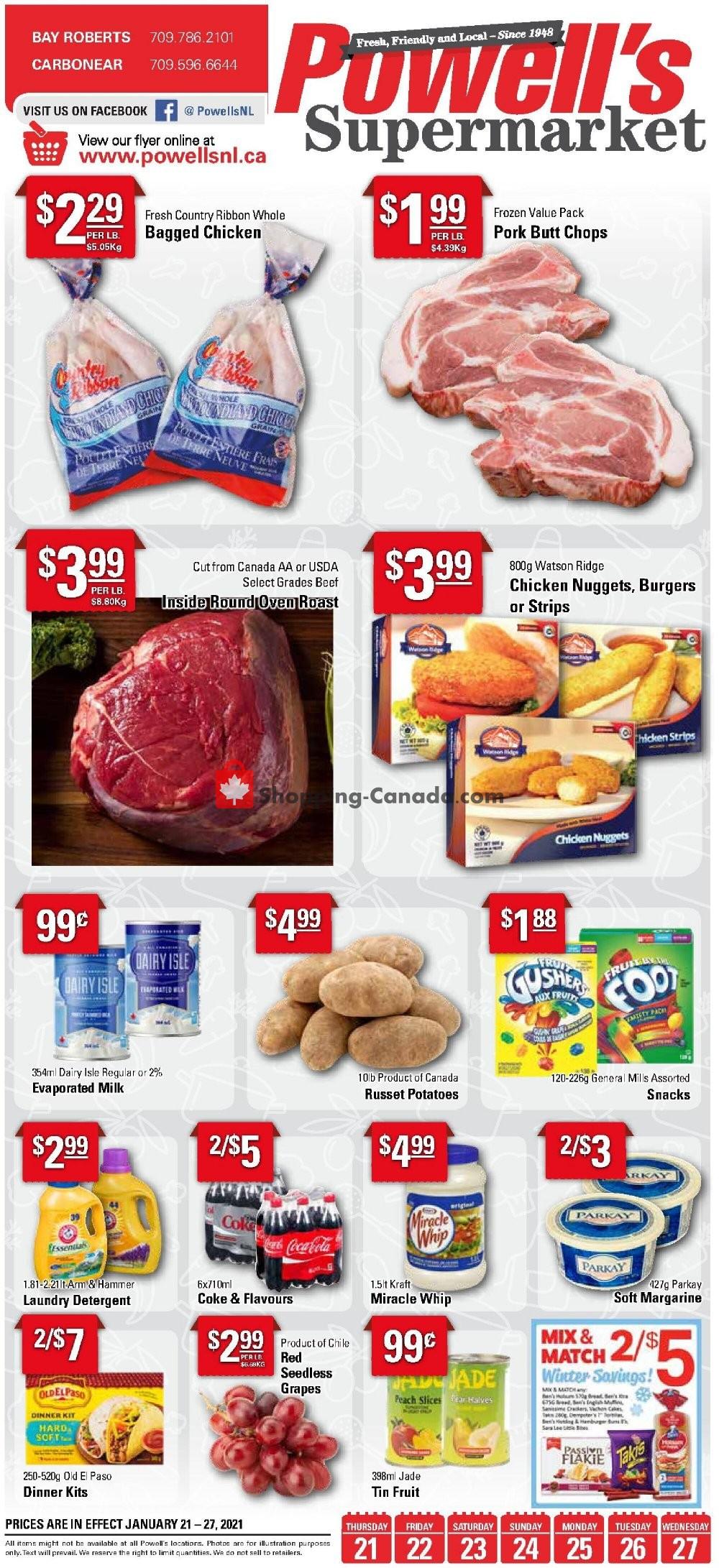 Flyer Powell's Supermarket Canada - from Thursday January 21, 2021 to Wednesday January 27, 2021