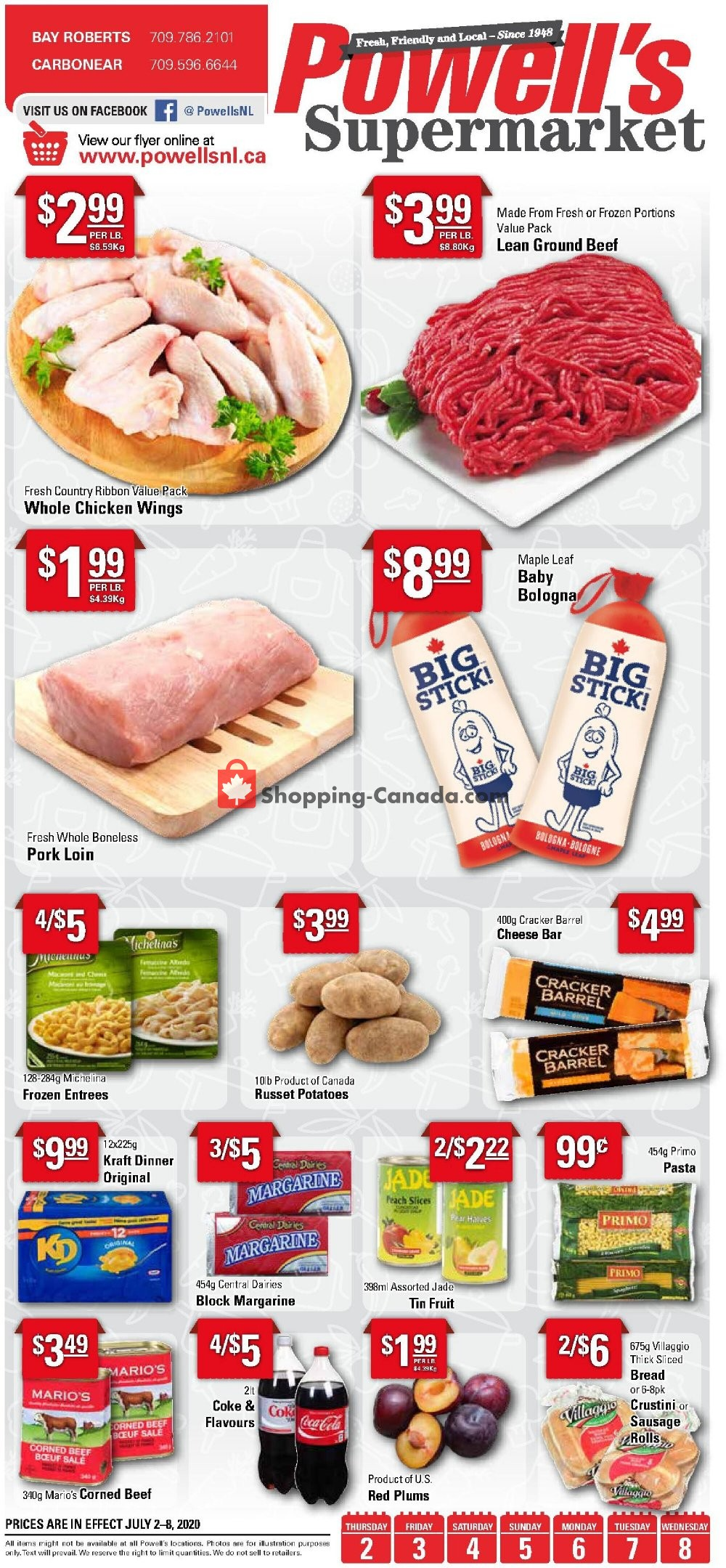 Flyer Powell's Supermarket Canada - from Thursday July 2, 2020 to Wednesday July 8, 2020