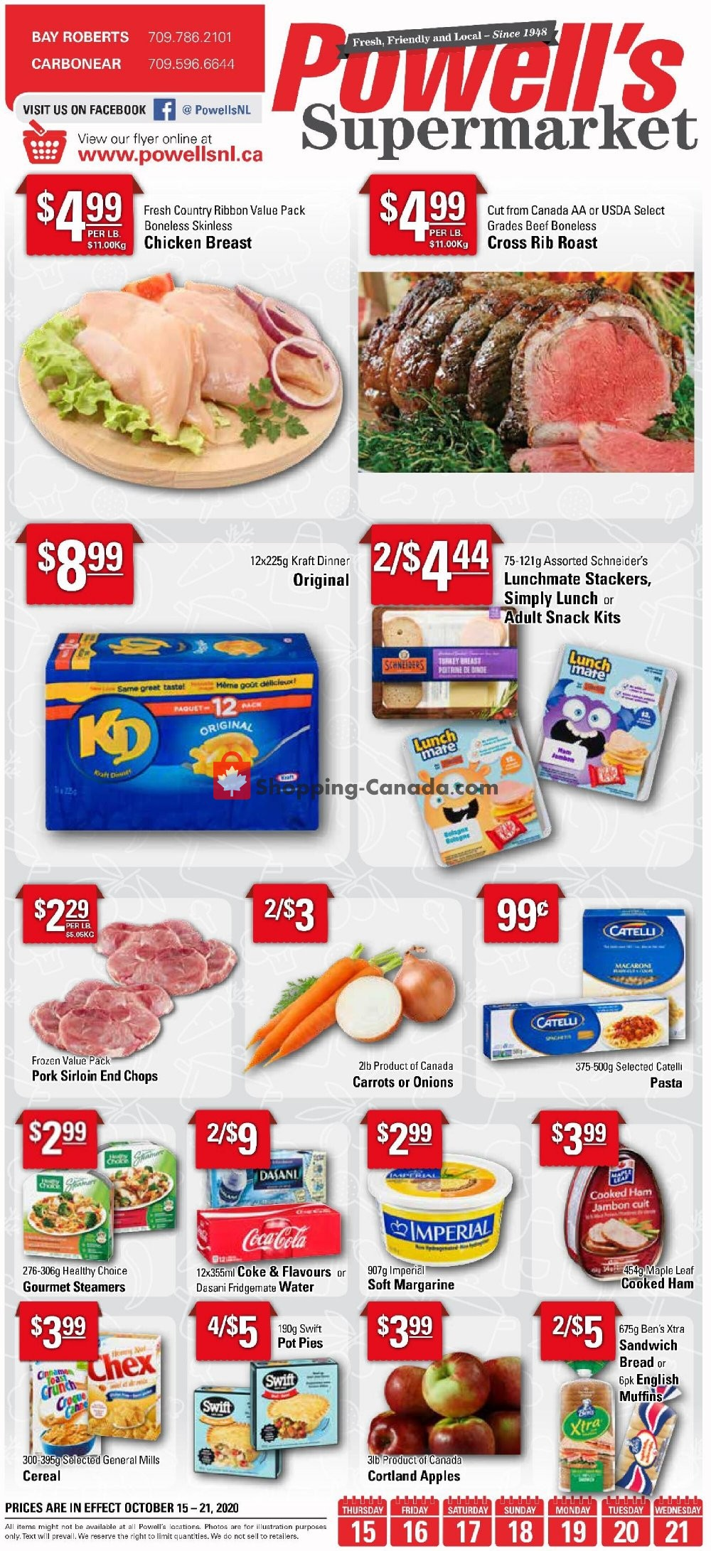 Flyer Powell's Supermarket Canada - from Thursday October 15, 2020 to Wednesday October 21, 2020