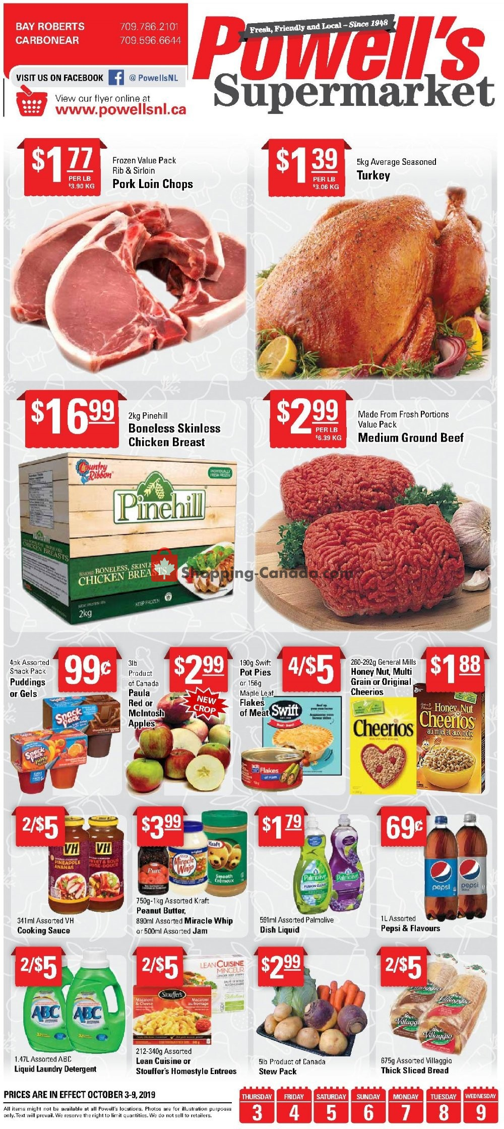 Flyer Powell's Supermarket Canada - from Thursday October 3, 2019 to Wednesday October 9, 2019