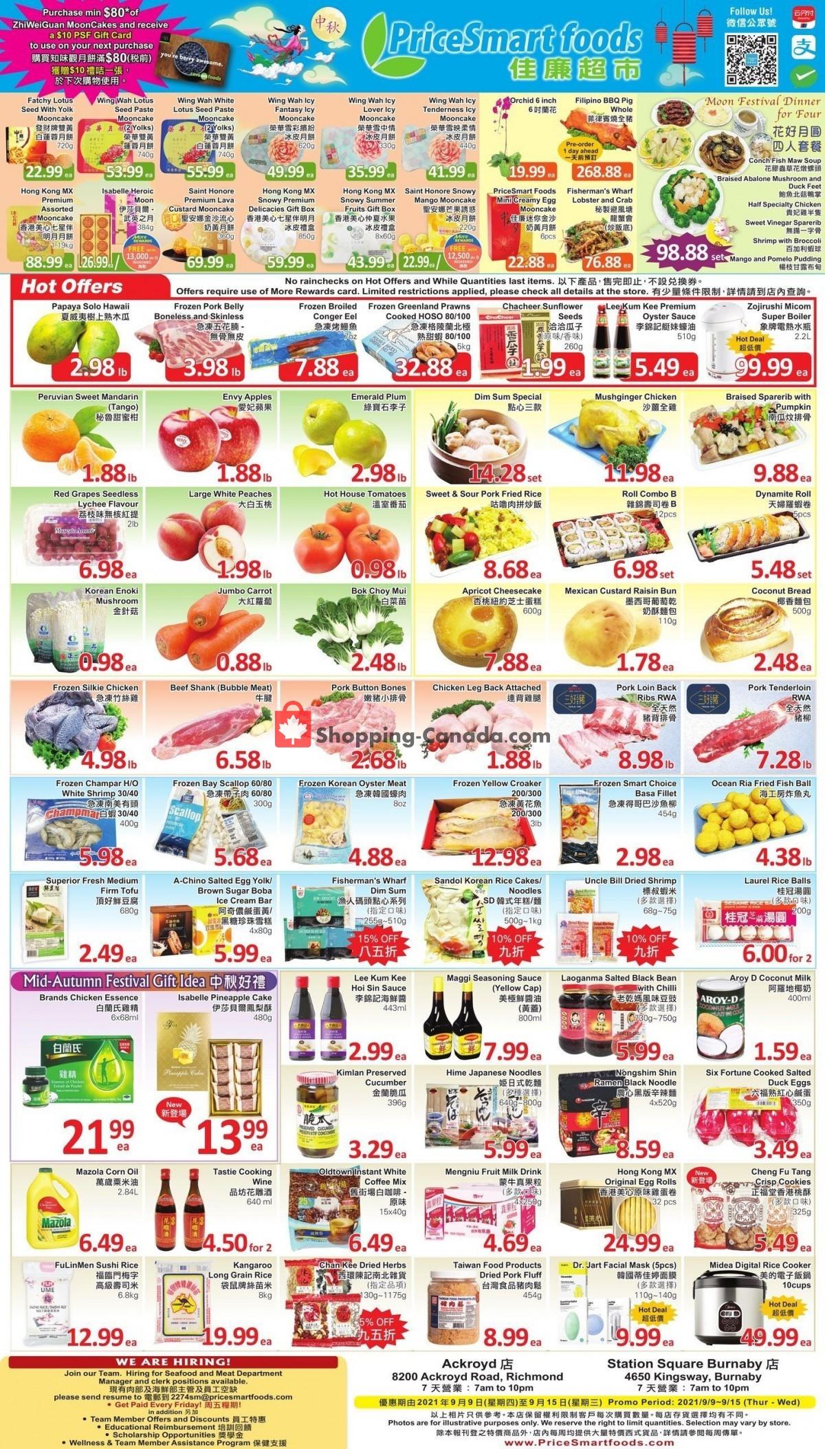 Flyer PriceSmart Foods Canada - from Thursday September 9, 2021 to Wednesday September 15, 2021