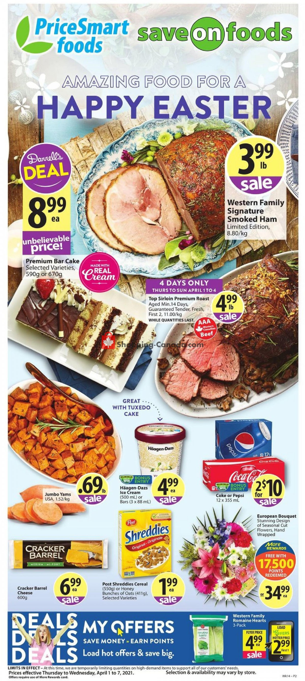 Flyer PriceSmart Foods Canada - from Thursday April 1, 2021 to Wednesday April 7, 2021