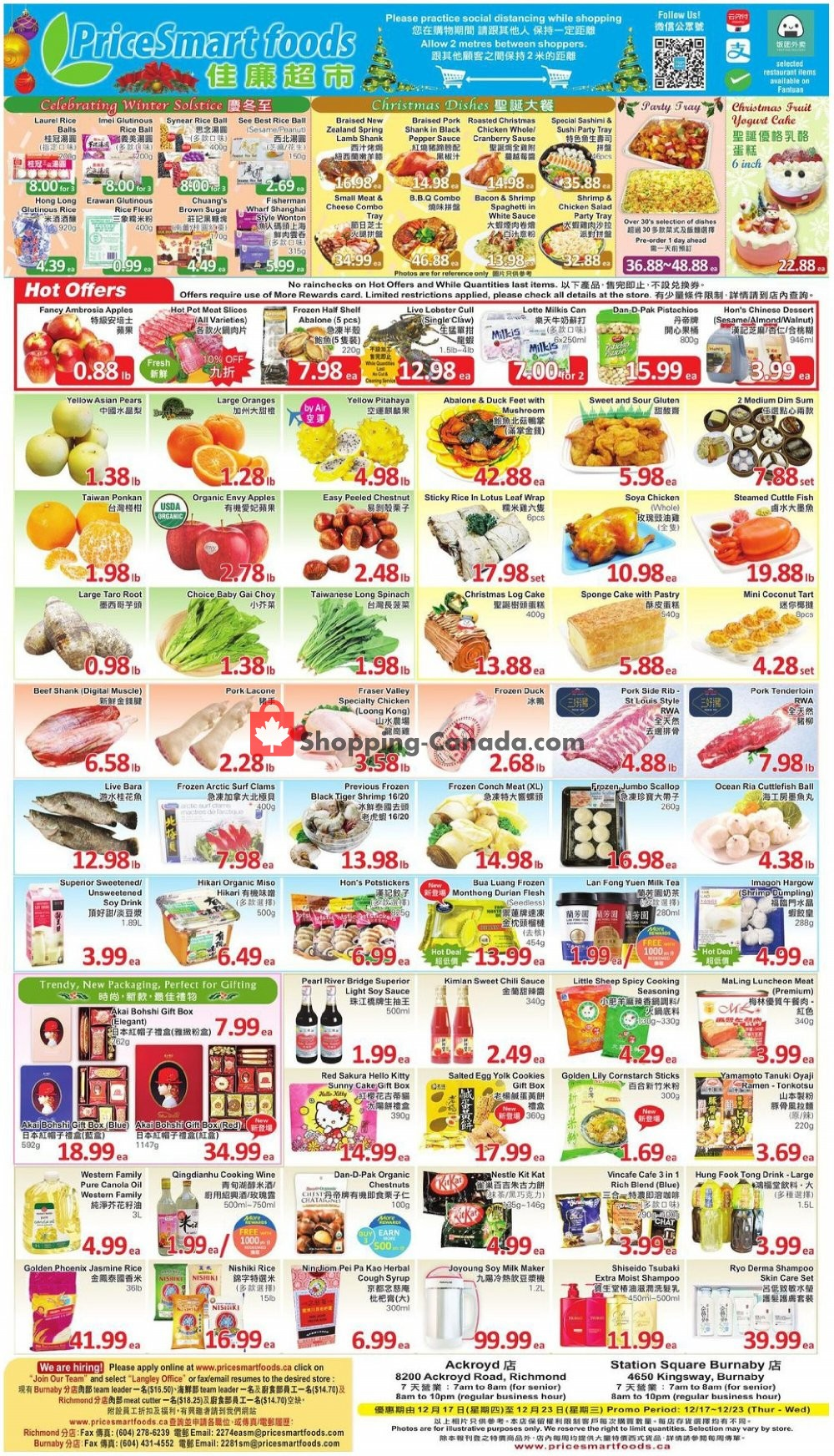 Flyer PriceSmart Foods Canada - from Thursday December 17, 2020 to Wednesday December 23, 2020