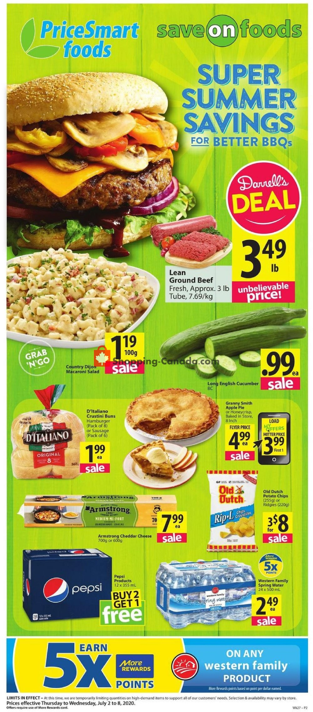 Flyer PriceSmart Foods Canada - from Thursday July 2, 2020 to Wednesday July 8, 2020