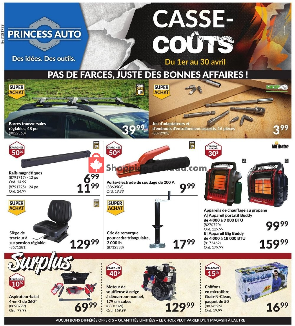 Flyer Princess Auto Canada - from Wednesday April 1, 2020 to Thursday April 30, 2020