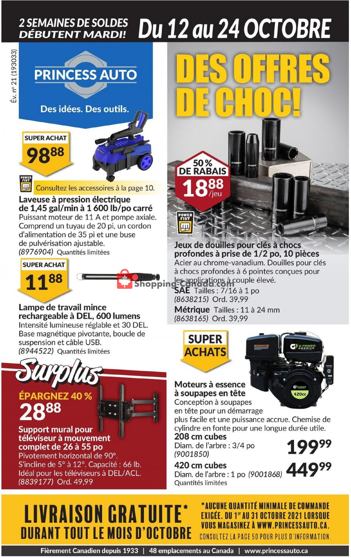 Flyer Princess Auto Canada - from Tuesday October 12, 2021 to Sunday October 24, 2021