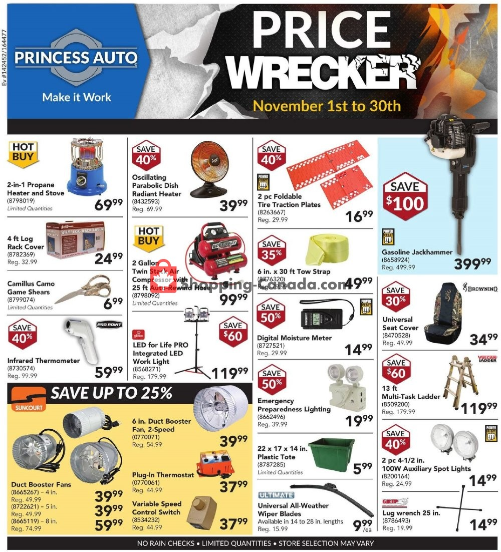 Flyer Princess Auto Canada - from Thursday November 1, 2018 to Friday November 30, 2018