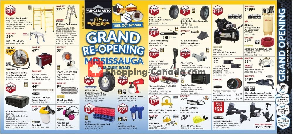 Flyer Princess Auto Canada - from Tuesday October 16, 2018 to Sunday October 28, 2018