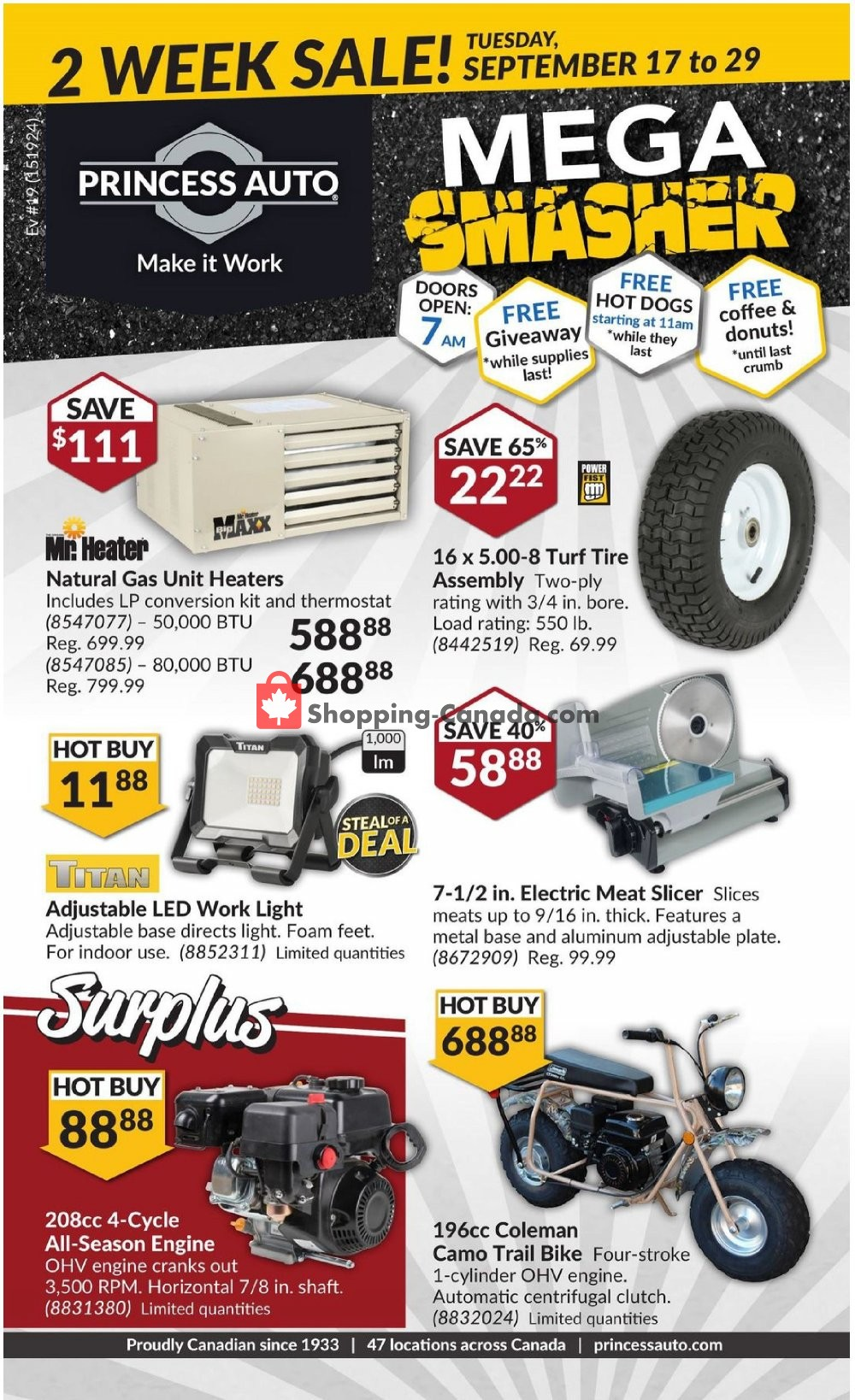 Flyer Princess Auto Canada - from Tuesday September 17, 2019 to Sunday September 29, 2019