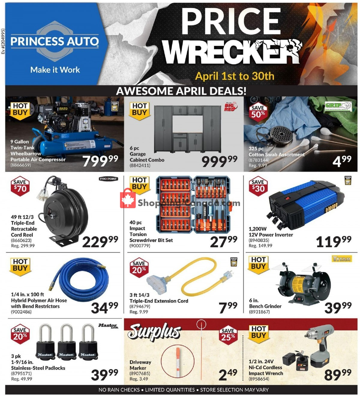 Flyer Princess Auto Canada - from Thursday April 1, 2021 to Friday April 30, 2021