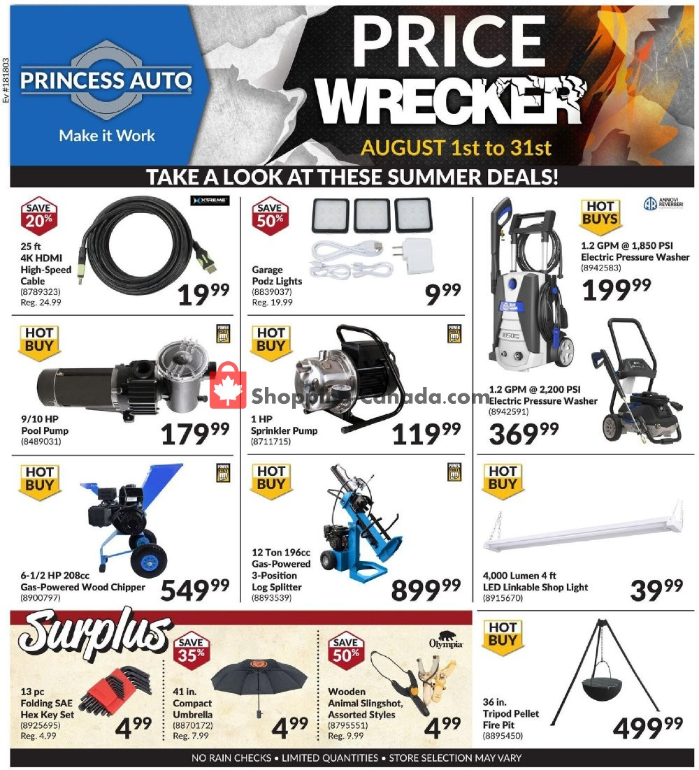Flyer Princess Auto Canada - from Saturday August 1, 2020 to Monday August 31, 2020
