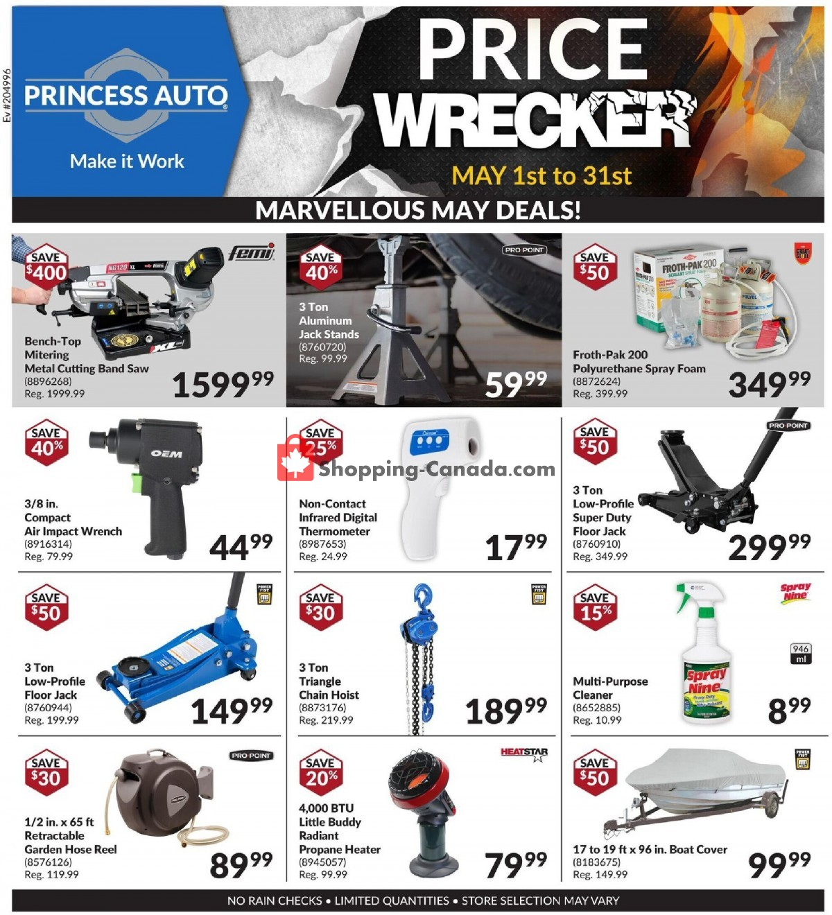 Flyer Princess Auto Canada - from Saturday May 1, 2021 to Monday May 31, 2021