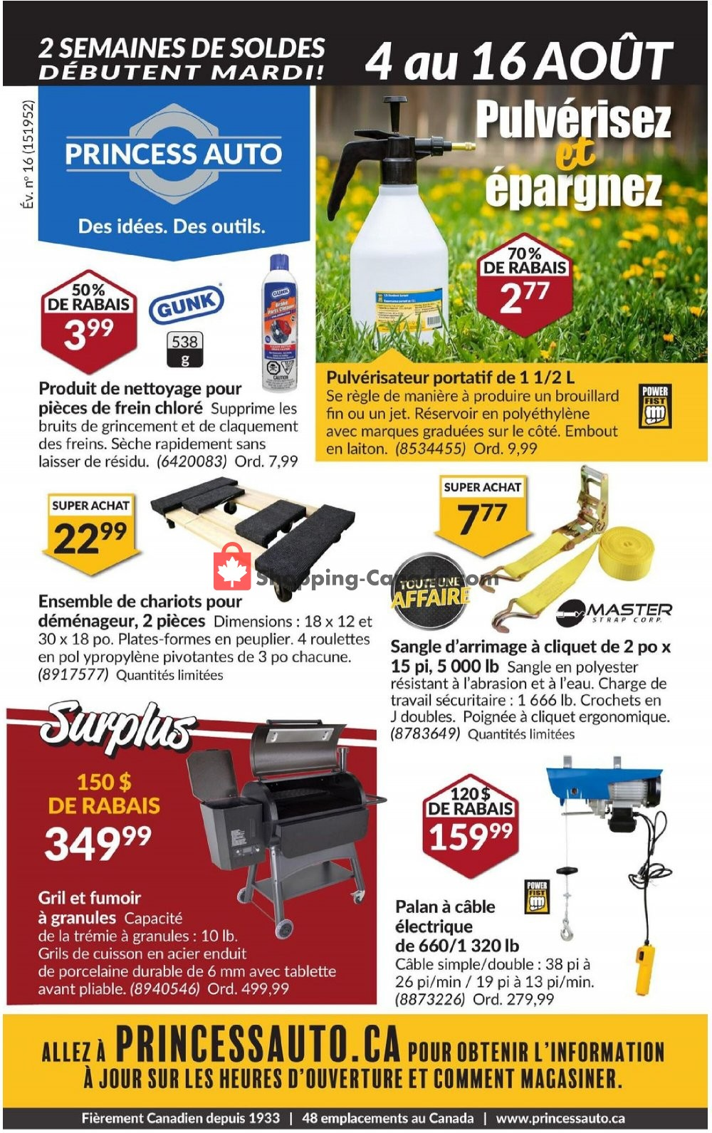 Flyer Princess Auto Canada - from Tuesday August 4, 2020 to Sunday August 16, 2020