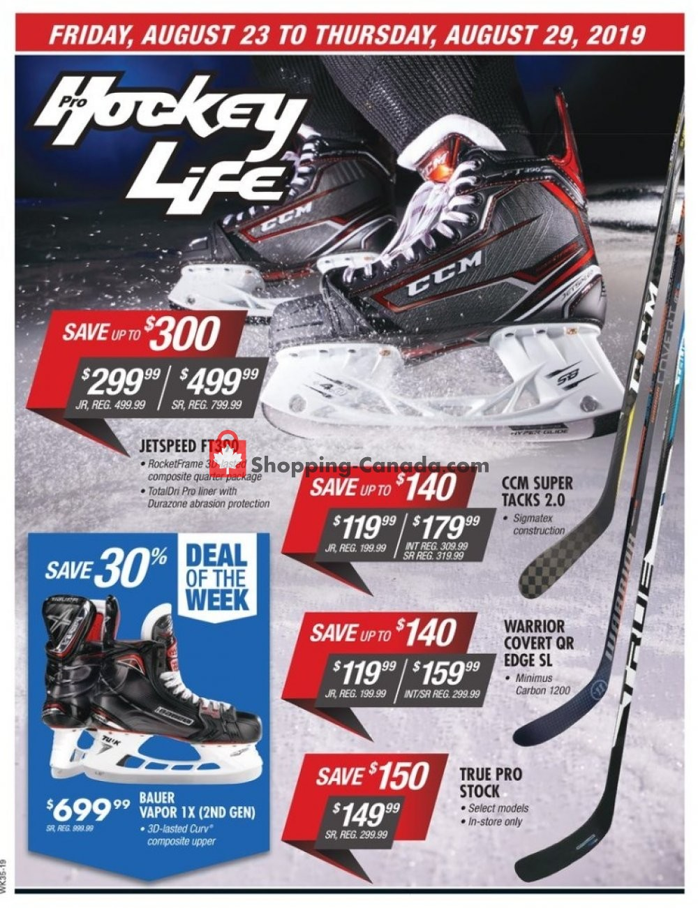 Flyer Pro Hockey Life Canada - from Friday August 23, 2019 to Thursday August 29, 2019