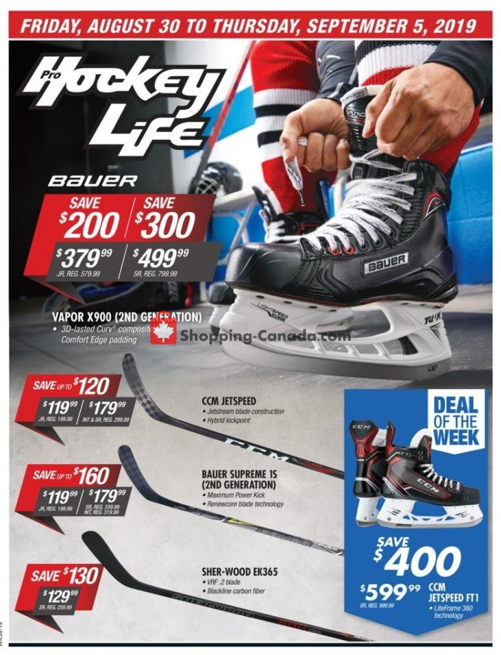 Flyer Pro Hockey Life Canada - from Friday August 30, 2019 to Thursday September 5, 2019