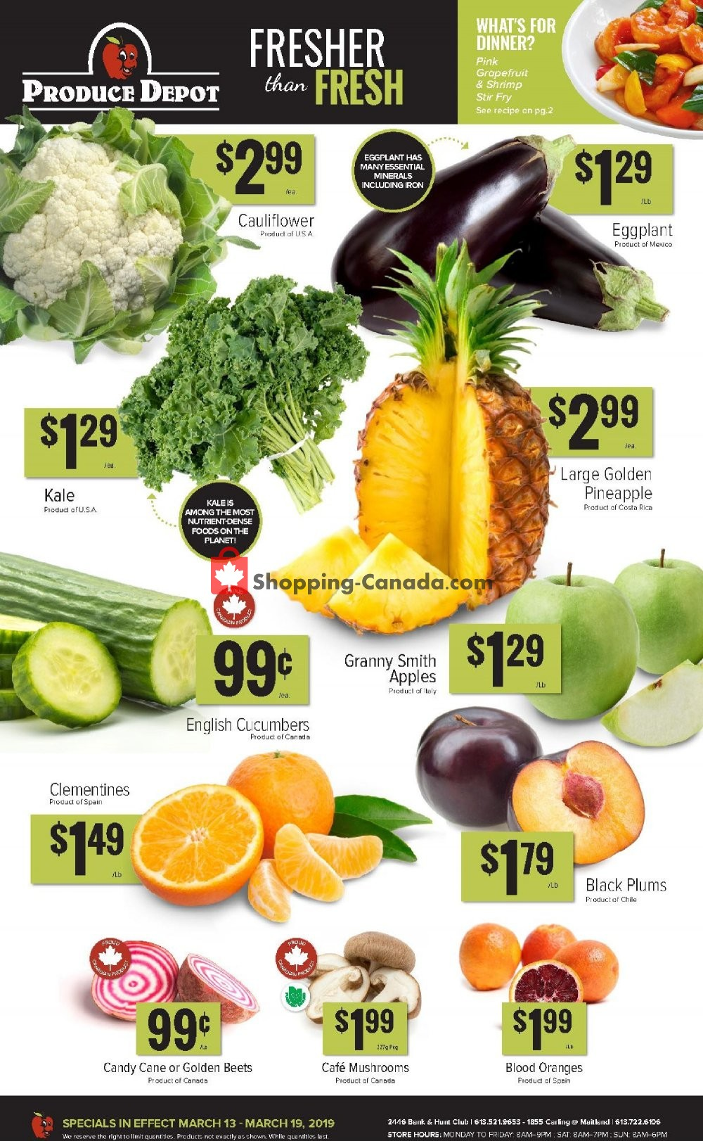 Flyer Produce Depot Canada - from Wednesday March 13, 2019 to Tuesday March 19, 2019