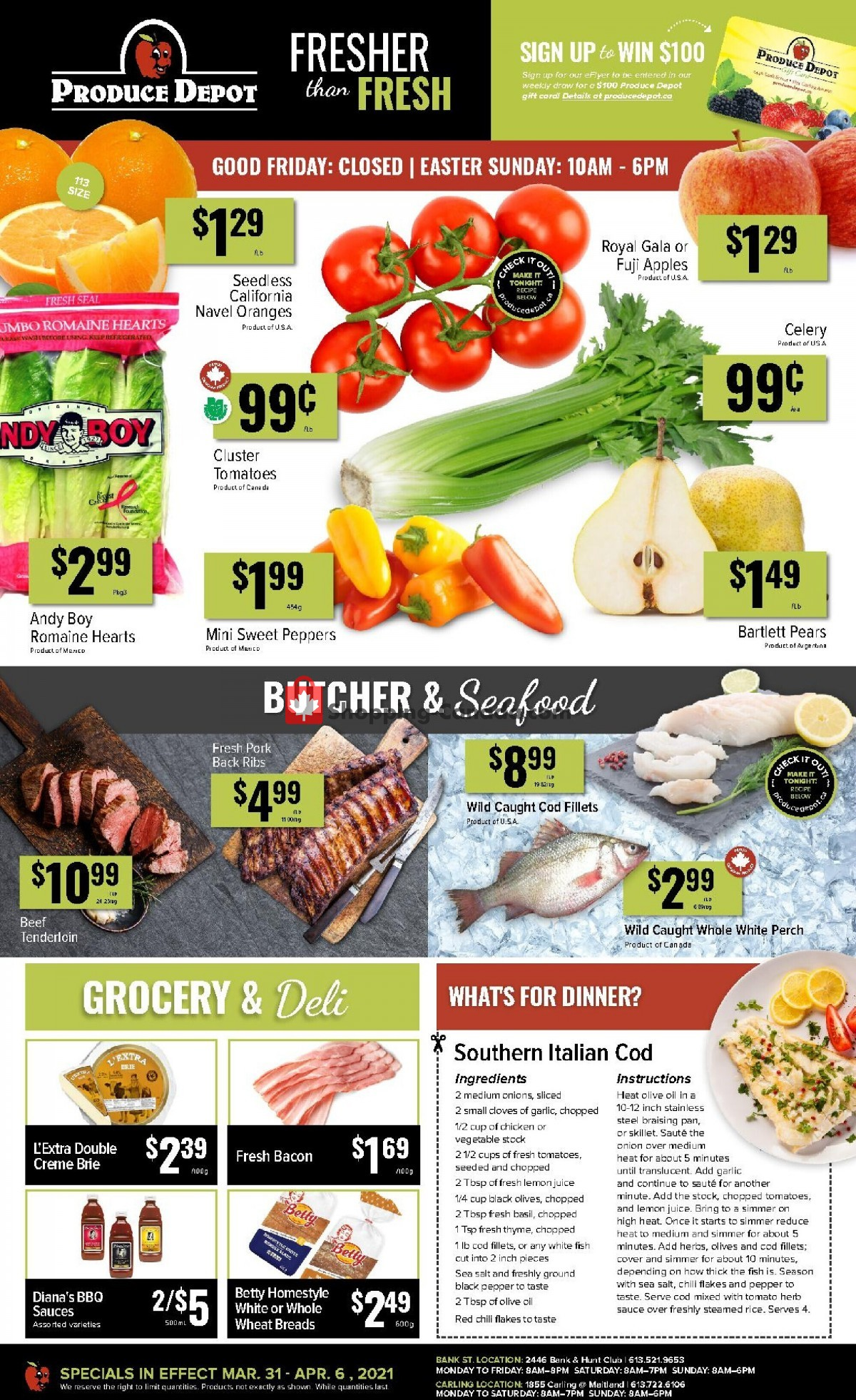 Flyer Produce Depot Canada - from Wednesday March 31, 2021 to Tuesday April 6, 2021
