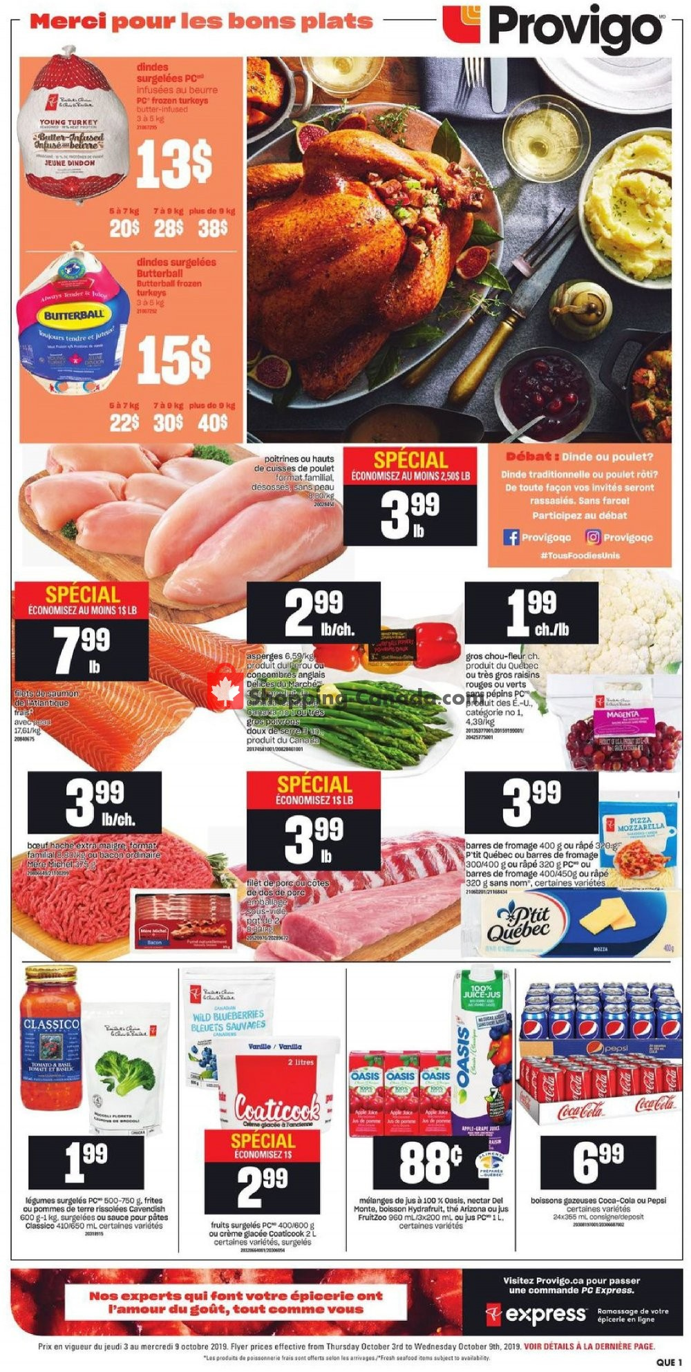 Flyer Provigo Canada - from Thursday October 3, 2019 to Wednesday October 9, 2019