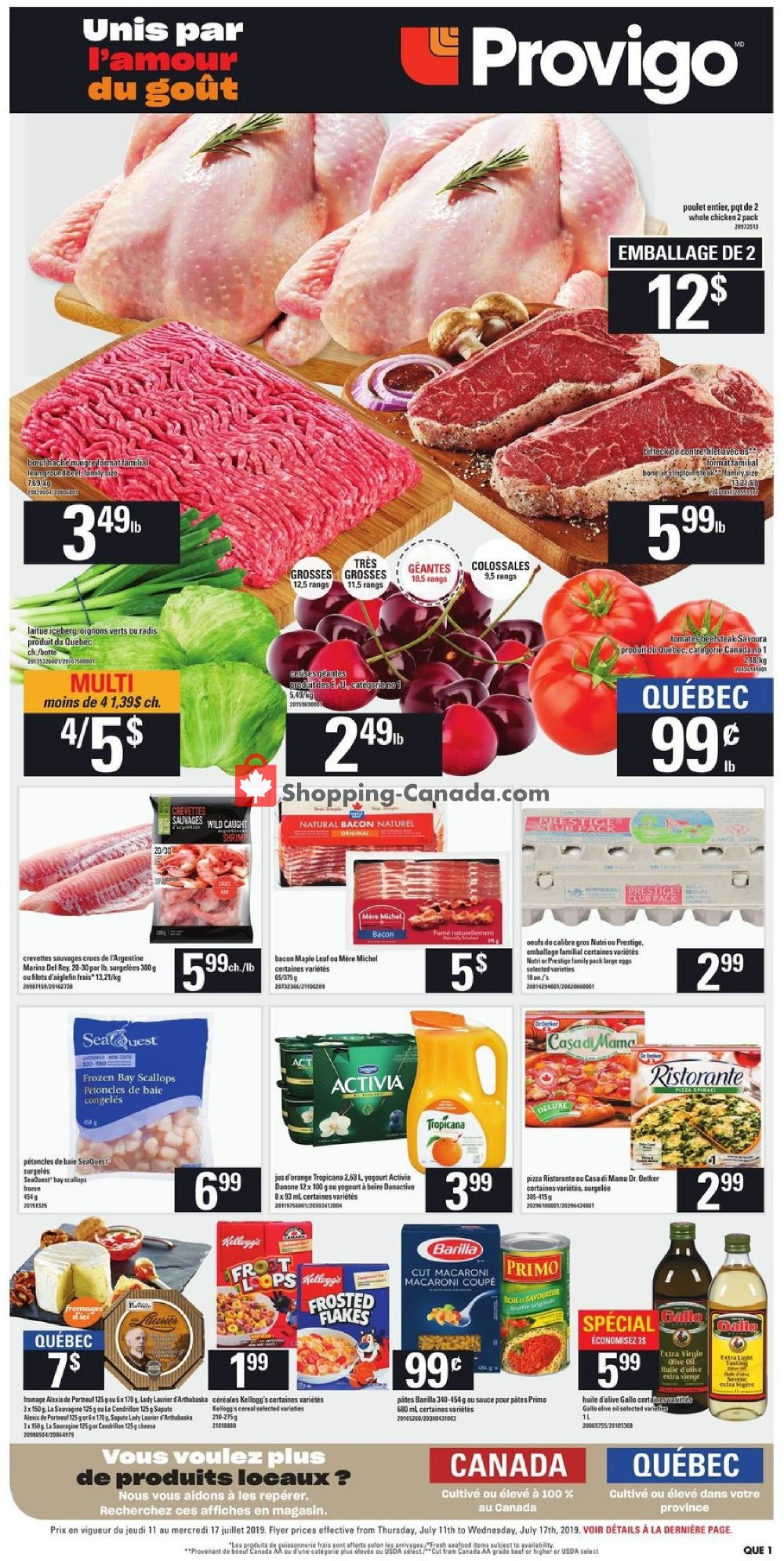 Flyer Provigo Canada - from Thursday July 11, 2019 to Wednesday July 17, 2019