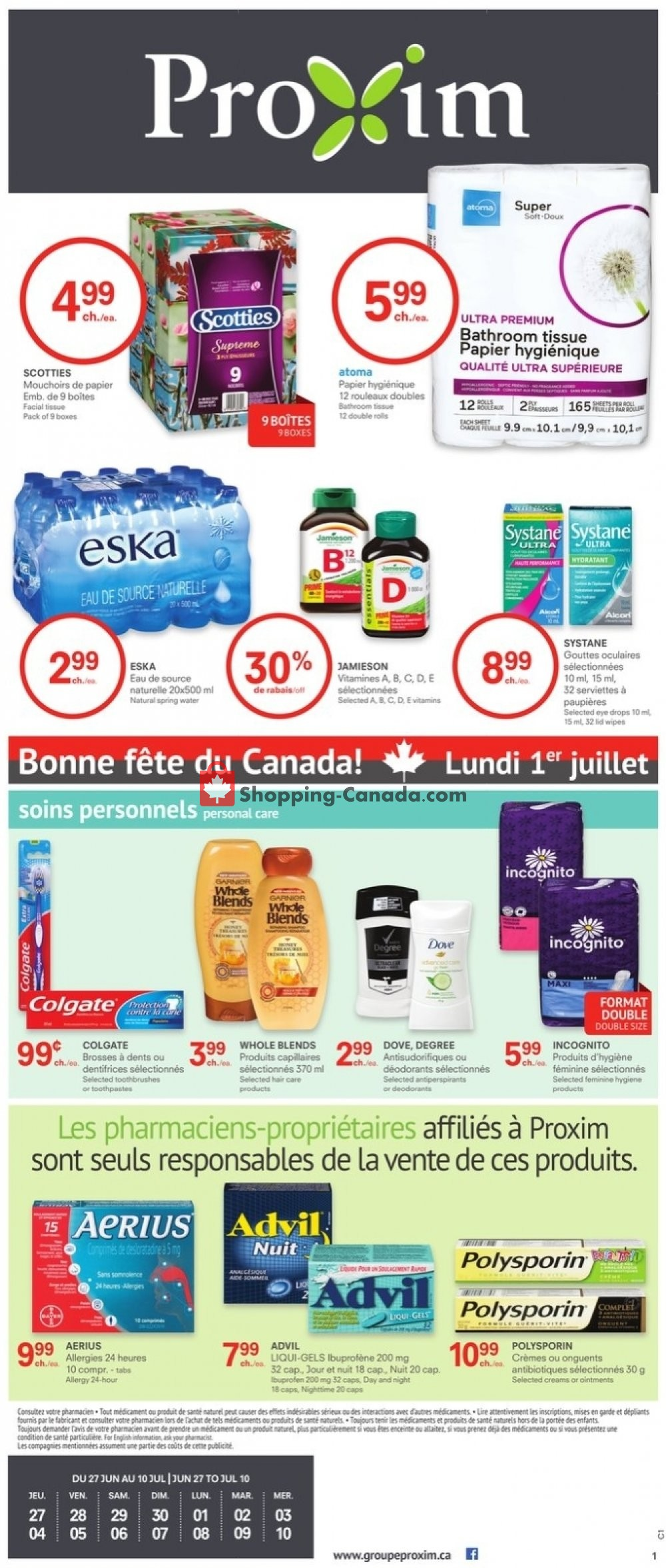 Flyer Proxim Canada - from Thursday June 27, 2019 to Wednesday July 10, 2019
