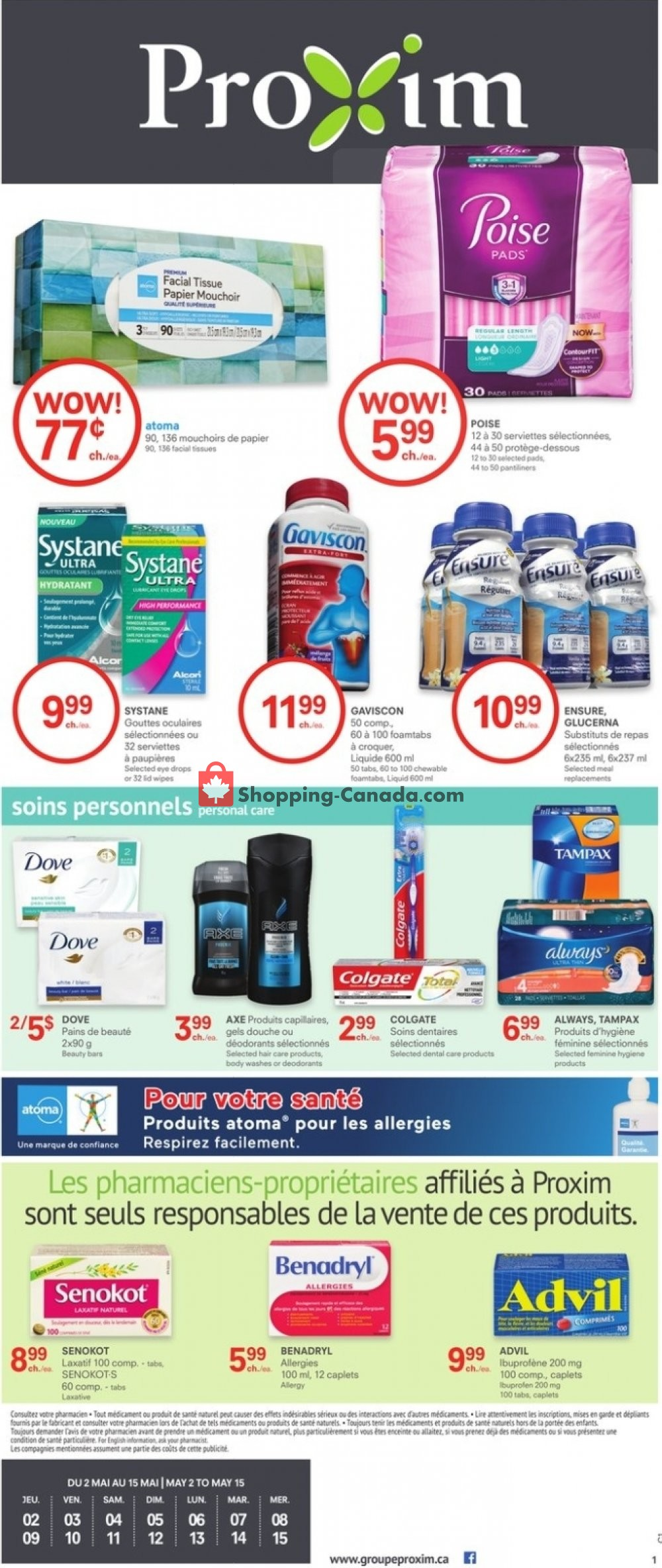 Flyer Proxim Canada - from Thursday May 2, 2019 to Wednesday May 15, 2019