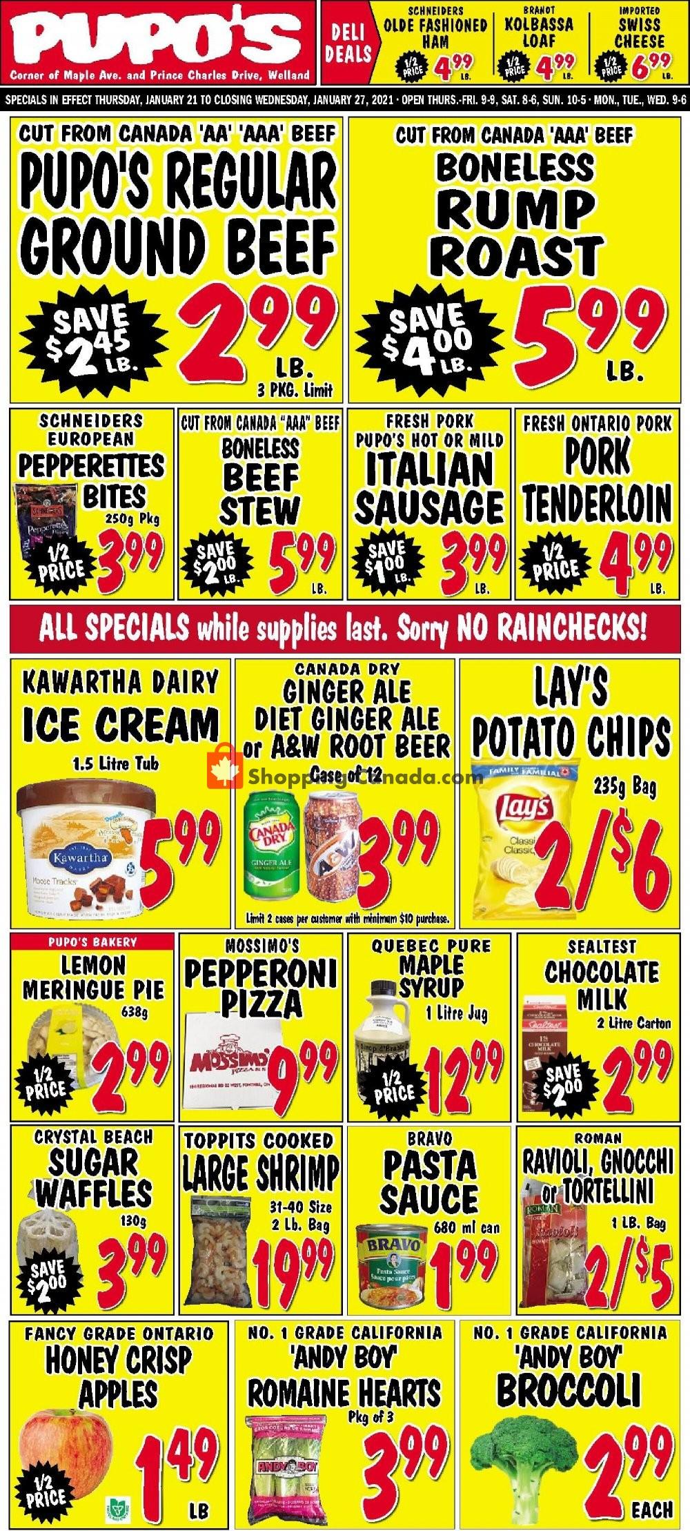 Flyer Pupo's Food Market Canada - from Thursday January 21, 2021 to Wednesday January 27, 2021