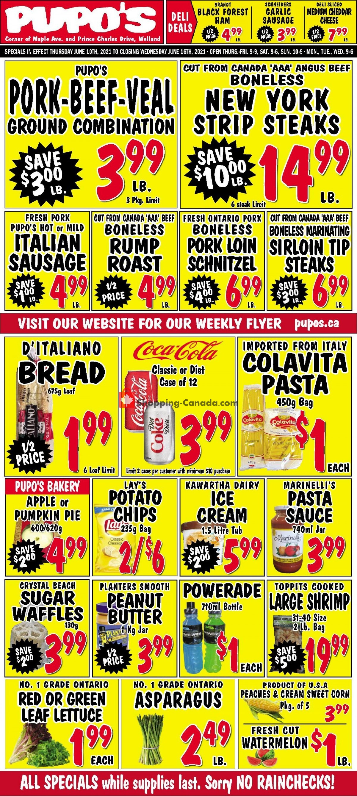 Flyer Pupo's Food Market Canada - from Thursday June 10, 2021 to Wednesday June 16, 2021